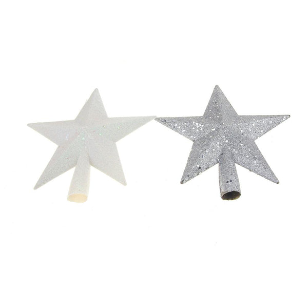 Silver and Iridescent White Glitter Christmas Topper, 8-inch, 2 Piece