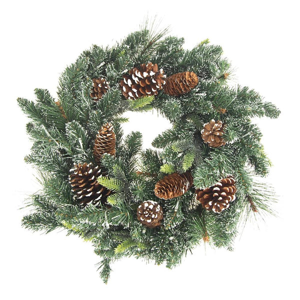 LED Artificial Winter Pine Wreaths with Pine Cones, Green, 21-Inch