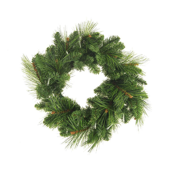 LED Artificial Pine Christmas Wreaths, Green, 16-Inch