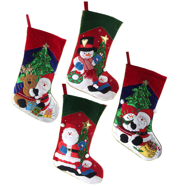 Embroidered Santa with Friends Christmas Stockings, Red, 19-Inch, 4-Piece