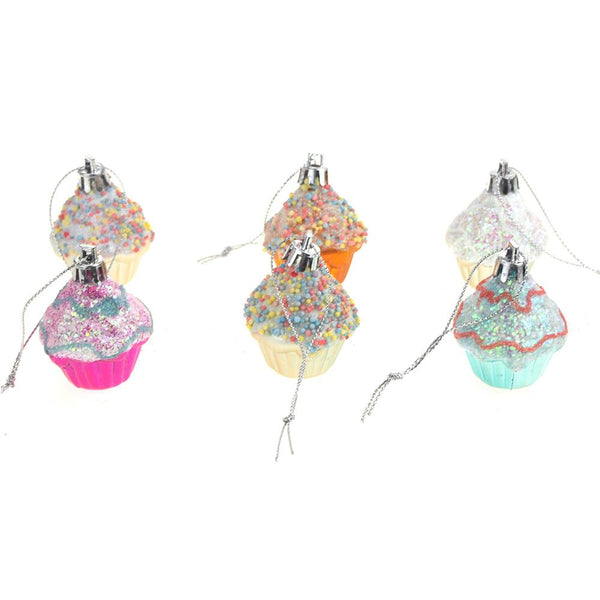 Hanging Plastic Cupcake Christmas Ornaments, 2-Inch, 6-Piece