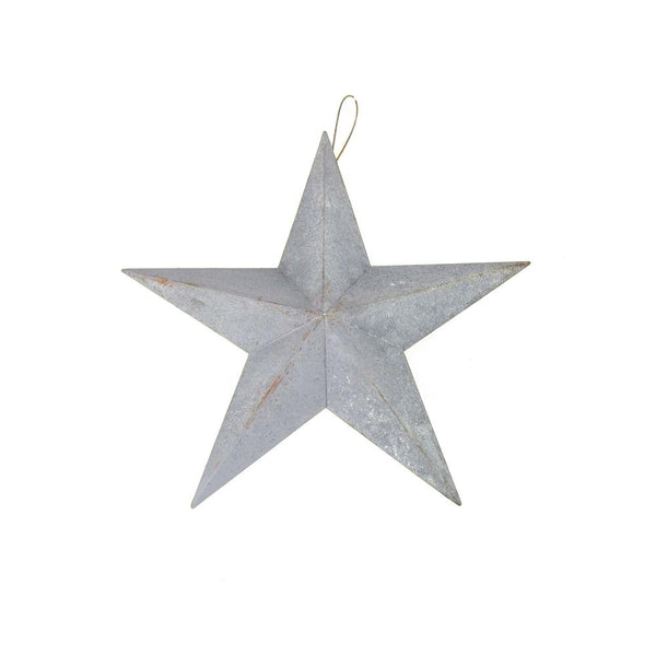 12 Pack, Metal Hanging Gray Galvanized Star Christmas Decor, 8-Inch
