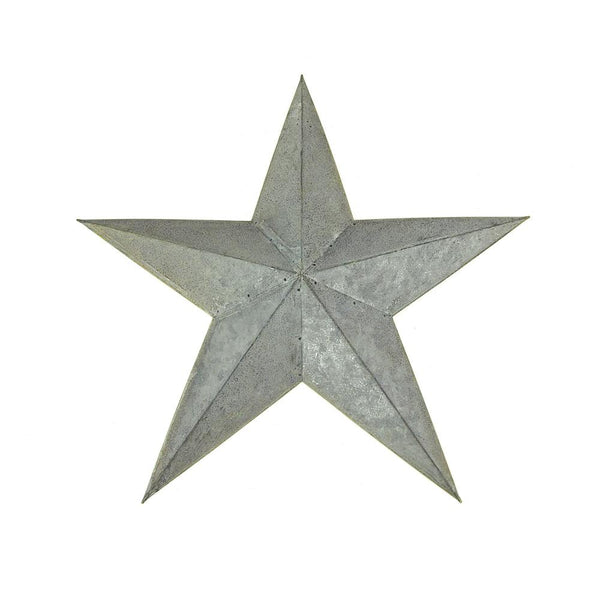12 Pack, Metal Hanging Gray Galvanized Star Christmas Decor, 15-Inch