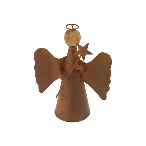 Christmas Rusty Tin Angel with Wood Head and Halo, 6-1/2-inch