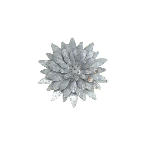 Metal Gray Galvanized Magnetic Sunflower, 4-1/4-Inch