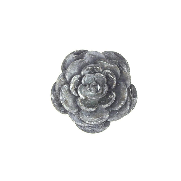 12 Pack, Metal Gray Galvanized Magnetic Garden Rose, 4-Inch