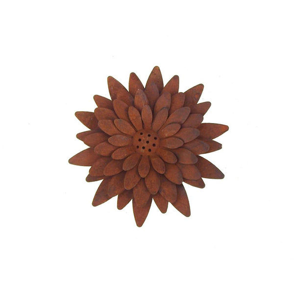 12 Pack, Metal Rusty Sunflower Pick, 4-1/2-Inch
