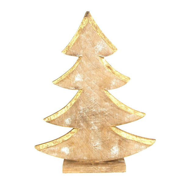 Metallic Christmas Tree Wooden Stand, Gold, 15-Inch