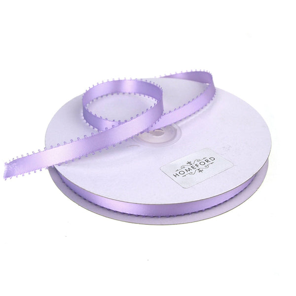 Picot-edge Double Face Satin Ribbon, Lavender, 3/8-Inch, 50 Yards