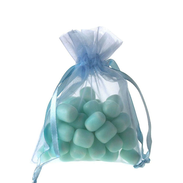Organza Favor Pouch Bag, 4-Inch x 5-Inch, 12-Count, Light Blue