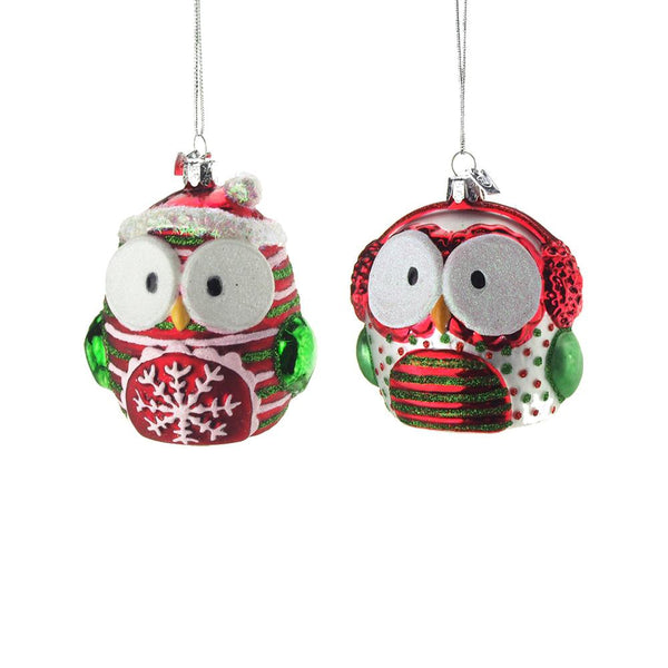 12 Pack, Hanging Glass Owl Christmas Tree Ornament with Glitter, Red/Green/White, 3-1/2-Inch, 2 Piece