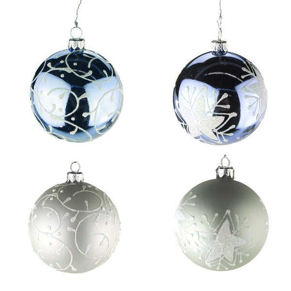12 Pack, Hanging Plastic Round Star and Spiral Christmas Tree Ornament with Glitter, Blue/Silver, 3-Inch, 2 Pack