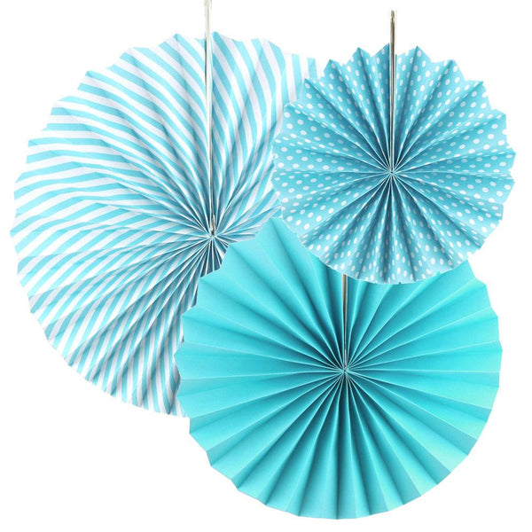 Paper Rosette Pinwheel Party Backdrop Fans, Blue, Assorted Sizes, 3-Piece