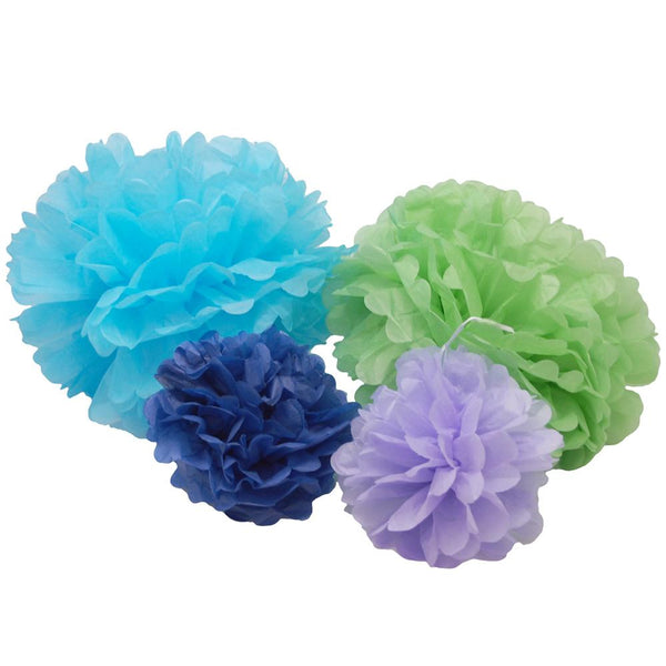 12 Pack, Hanging Paper Pom Poms Ball Centerpiece, Assorted Sizes, 3-Piece