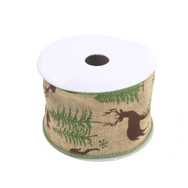 12 Pack, Christmas Ribbon Faux Jute Reindeer with Trees Print, 10 Yards, Natural/Green, 2-1/2-inch