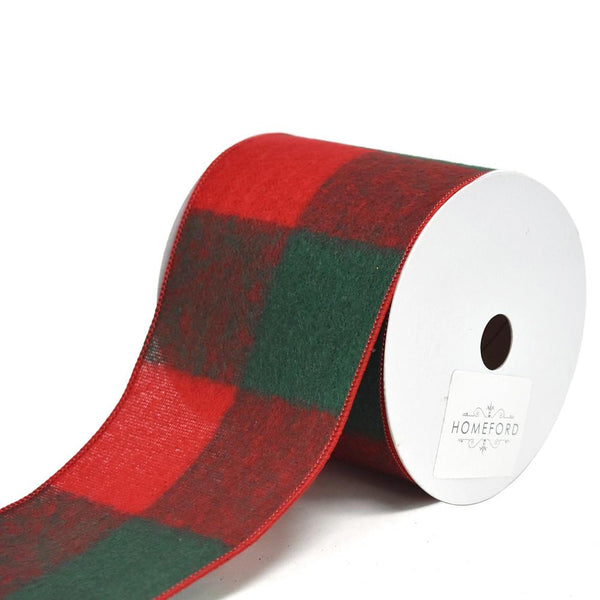 12 Pack, Felt Large Square Checkered Wired Christmas Ribbon, 4-Inch, 10-Yard, Red/Green