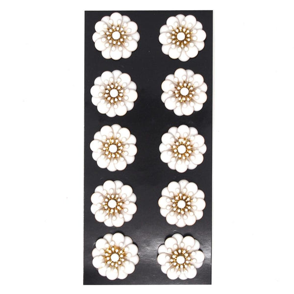 12 Pack, Acrylic Springtime Floral Embellishments, White/Gold, 1.1-Inch, 10-Count