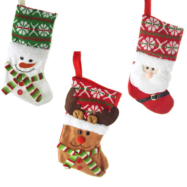 12 Pack, Hanging Felt Reindeer Santa Snowman Christmas Stocking, 13-3/4-inch, 3 Piece