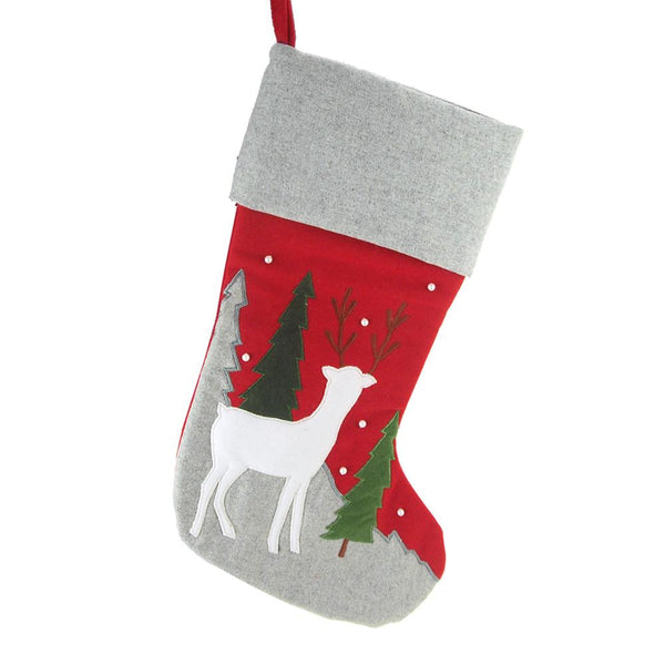 12 Pack, Hanging Felt Reindeer and Tree Embroidered Christmas Stocking with Gray Cuff, Red/Gray, 17-inch