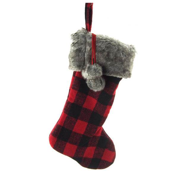 12 Pack, Hanging Felt Plaid Christmas Stocking with Fur Cuff, Red/Black, 20-inch