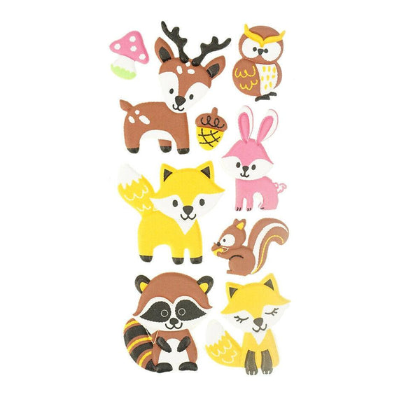 3D Flocked Puffy Woodland Pals Stickers, 9-Piece