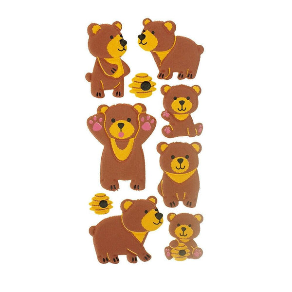 3D Flocked Puffy Honey Bears Stickers, 9-Piece