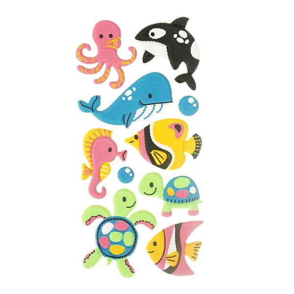 3D Flocked Puffy Sea Creatures Stickers, 10-Piece