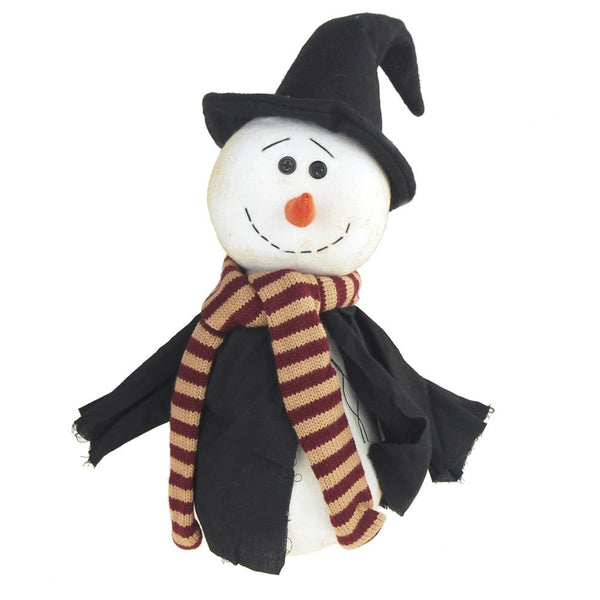 12-Pack, Plush Witch Snowman with Witch Robe and Hat Holiday Decor, White/Black, 15-Inch