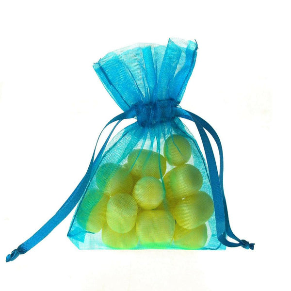 Organza Favor Pouch Bag, 3-Inch x 4-Inch, 12-Count, Turquoise
