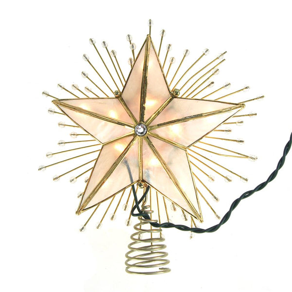 12 Pack, LED 5 Point Capiz Star Christmas Tree Topper with Beads, Gold, 9-Inch