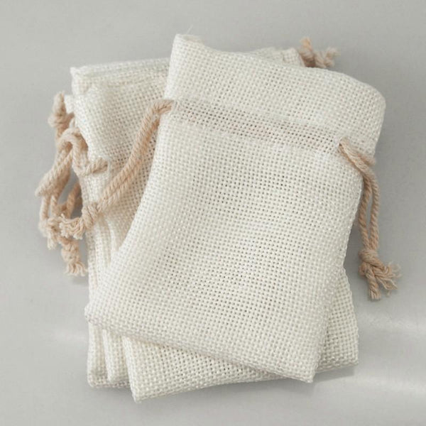 12-Pack, Faux Burlap Pouch Bags, 6-inch x 9-inch, 6-Piece, White