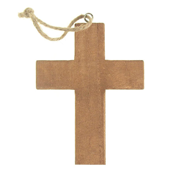 12 Pack, Hanging Wooden Cross Christmas Tree Ornament, Natural, 5-Inch