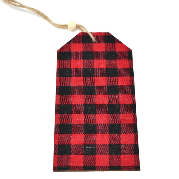 12 Pack, Hanging Buffalo Checkered Wooden Tag, Black/Red, 5-3/4-inch