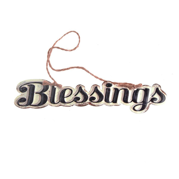 "Vintage Style Hanging Metal ""Blessings"" Sign, Black/Off-White, 8-Inch x 1.6-Inch"