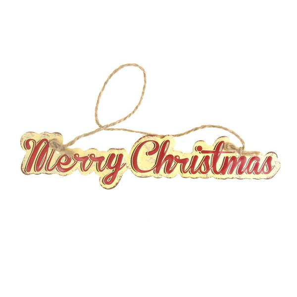 "Vintage Style Hanging Metal ""Merry Christmas"" Christmas Sign, Red/Off-White, 8-Inch"