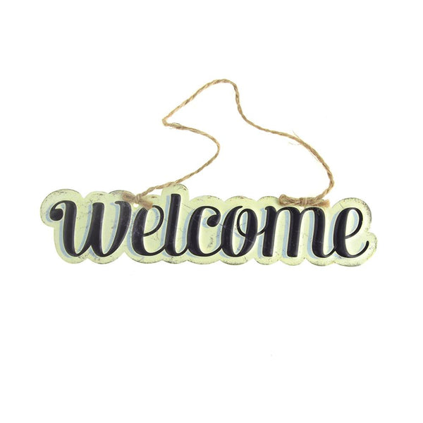 "12 Pack, Vintage Style Hanging Metal ""Welcome"" Sign, Black/Off-White, 8-Inch x 1-3/4-Inch"