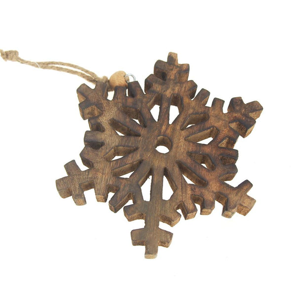 12 Pack, Hanging Wood Fern-like Stellar Dendrite Snowflake Christmas Tree Ornament, Natural, 5-3/4-Inch