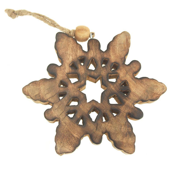 12-Pack, Hanging Wood Celestial Snowflake Christmas Tree Ornament, Natural, 5-Inch