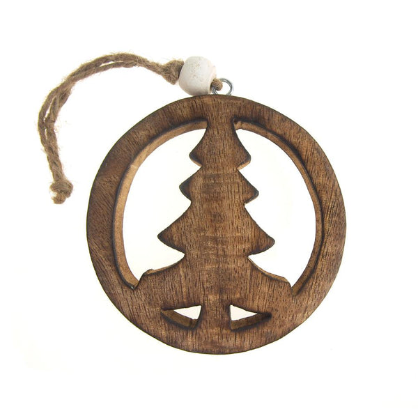 12 Pack, Hanging Wooden Peace Tree Christmas Tree Ornament, Natural, 4-Inch