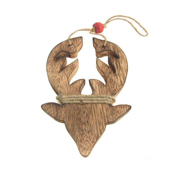 Hanging Wood Reindeer Christmas Tree Ornament, Natural, 6-Inch