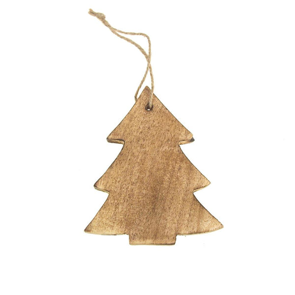 Hanging Wood Christmas Tree Ornament, Natural, 4.8-Inch