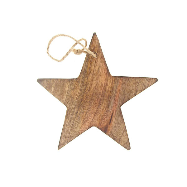 12-Pack, Hanging Wood Star Christmas Tree Ornament, Natural, 5-Inch
