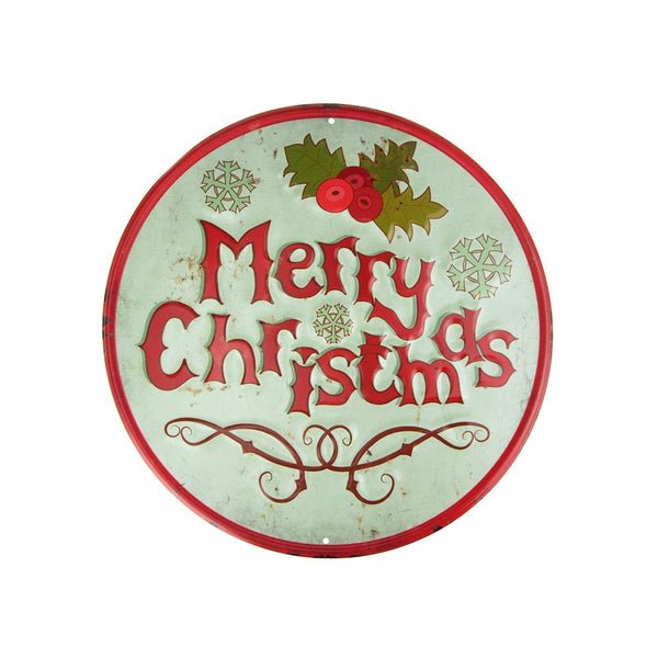 "Vintage Style Metal Round ""Merry Christmas"" Sign with Mistletoe, Mint Green, 11-3/4-Inch"