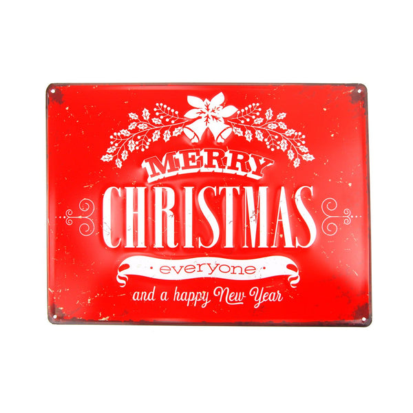 "Vintage Style Metal Rectangle ""Merry Christmas"" Sign, Red, 15-3/4-Inch x 11-3/4-Inch"