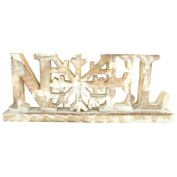 12-Pack, Wooden Noel Snowflake Christmas Distressed Stand, Natural/White, 15-3/4-Inch