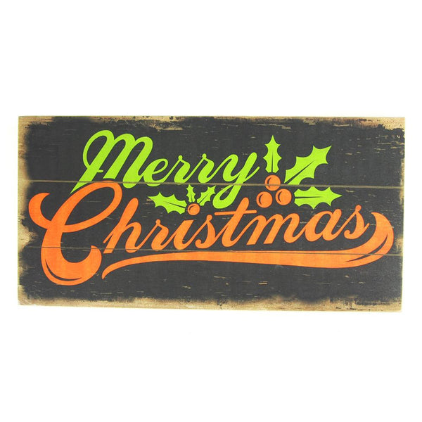 12 Pack, Merry Christmas Mistletoe Large Vintage Style Wood Sign Holiday Decor, Rectangle, Black, 15-3/4-Inch