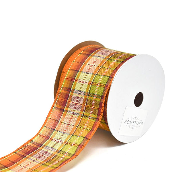 12 Pack, Field Plaid Stitch Wired Polyester Ribbon, 2-1/2-Inch, 10-Yard