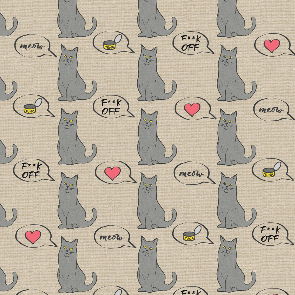 F**k Off Cat Burlap Wrapping Paper