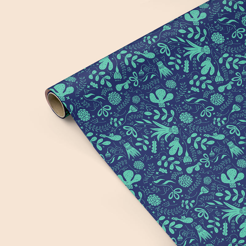 Cactus Blue Wrapping Paper