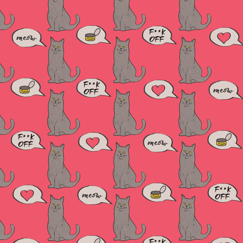 F**k Off Cat Pink Wrapping Paper
